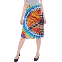 Tie Dye Peace Sign Midi Beach Skirt