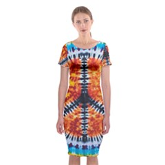 Tie Dye Peace Sign Classic Short Sleeve Midi Dress