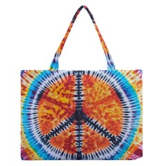 Tie Dye Peace Sign Medium Zipper Tote Bag