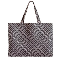 Grey Diamond Metal Texture Zipper Mini Tote Bag