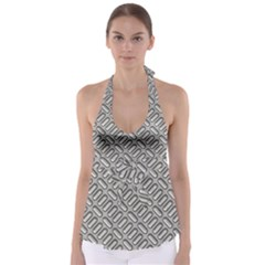 Grey Diamond Metal Texture Babydoll Tankini Top