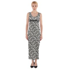Grey Diamond Metal Texture Fitted Maxi Dress