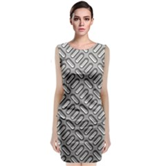 Grey Diamond Metal Texture Classic Sleeveless Midi Dress
