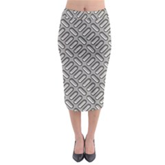 Grey Diamond Metal Texture Midi Pencil Skirt