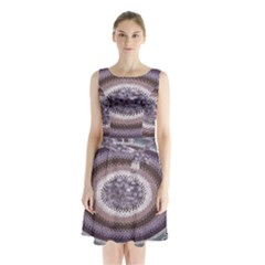 Spirit Of The Child Australian Aboriginal Art Sleeveless Waist Tie Chiffon Dress