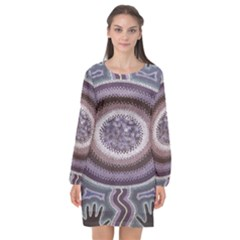 Spirit Of The Child Australian Aboriginal Art Long Sleeve Chiffon Shift Dress