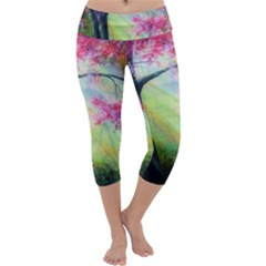 Forests Stunning Glimmer Paintings Sunlight Blooms Plants Love Seasons Traditional Art Flowers Sunsh Capri Yoga Leggings
