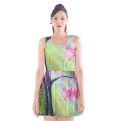 Forests Stunning Glimmer Paintings Sunlight Blooms Plants Love Seasons Traditional Art Flowers Sunsh Scoop Neck Skater Dress