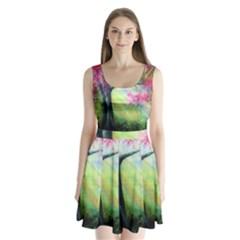 Forests Stunning Glimmer Paintings Sunlight Blooms Plants Love Seasons Traditional Art Flowers Sunsh Split Back Mini Dress