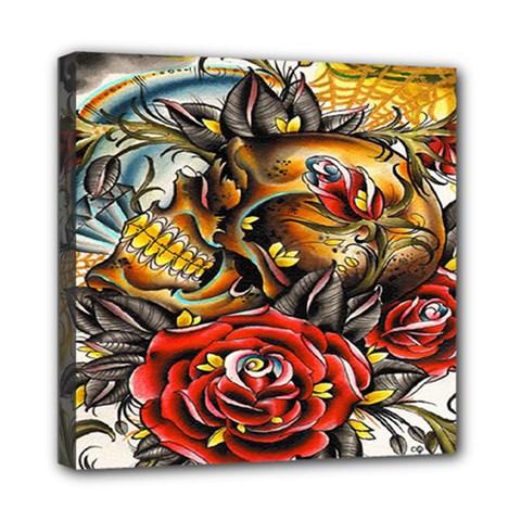 Flower Art Traditional Mini Canvas 8  X 8