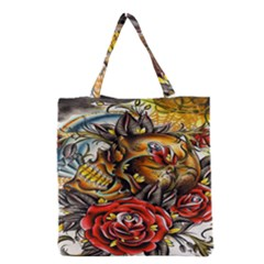 Flower Art Traditional Grocery Tote Bag