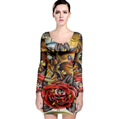 Flower Art Traditional Long Sleeve Bodycon Dress