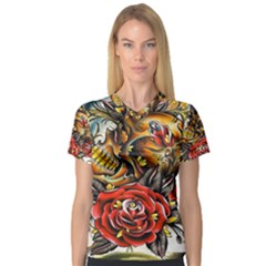 Flower Art Traditional V Neck Sport Mesh Tee