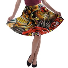 Flower Art Traditional A Line Skater Skirt