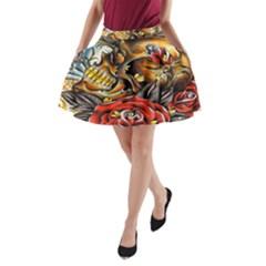 Flower Art Traditional A Line Pocket Skirt