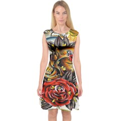 Flower Art Traditional Capsleeve Midi Dress by BangZart