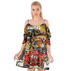 Flower Art Traditional Cutout Spaghetti Strap Chiffon Dress