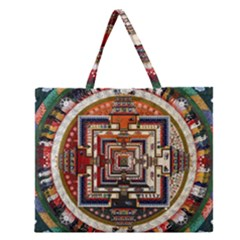 Colorful Mandala Zipper Large Tote Bag