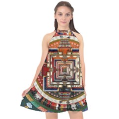 Colorful Mandala Halter Neckline Chiffon Dress