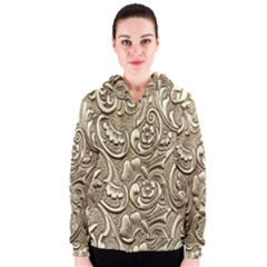 Golden European Pattern Women s Zipper Hoodie
