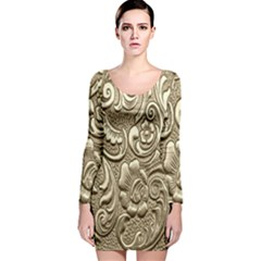 Golden European Pattern Long Sleeve Velvet Bodycon Dress