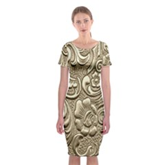 Golden European Pattern Classic Short Sleeve Midi Dress