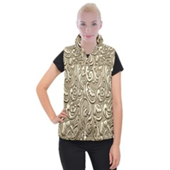 Golden European Pattern Women s Button Up Puffer Vest