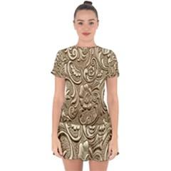 Golden European Pattern Drop Hem Mini Chiffon Dress