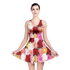 Rose Color Beautiful Flowers Reversible Skater Dress