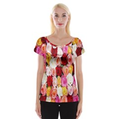 Rose Color Beautiful Flowers Cap Sleeve Tops