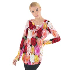 Rose Color Beautiful Flowers Tie Up Tee