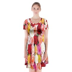 Rose Color Beautiful Flowers Short Sleeve V Neck Flare Dress
