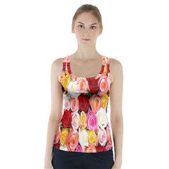 Rose Color Beautiful Flowers Racer Back Sports Top