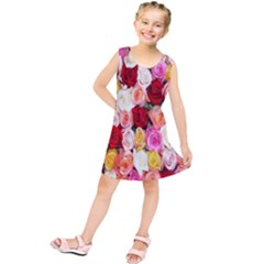 Rose Color Beautiful Flowers Kids  Tunic Dress