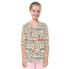 Backdrop Style With Texture And Typography Fashion Style Kids  Quarter Sleeve Raglan Tee