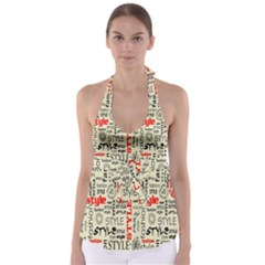 Backdrop Style With Texture And Typography Fashion Style Babydoll Tankini Top