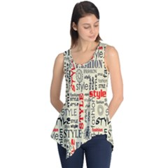 Backdrop Style With Texture And Typography Fashion Style Sleeveless Tunic