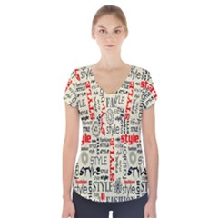 Backdrop Style With Texture And Typography Fashion Style Short Sleeve Front Detail Top