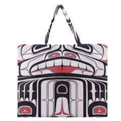 Ethnic Traditional Art Zipper Large Tote Bag