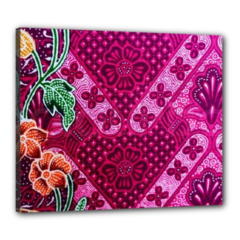 Pink Batik Cloth Fabric Canvas 24  X 20  by BangZart