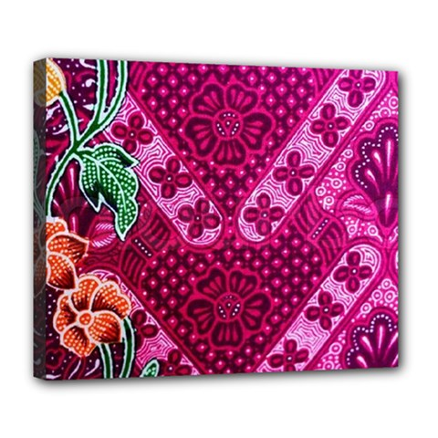 Pink Batik Cloth Fabric Deluxe Canvas 24  X 20   by BangZart