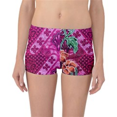 Pink Batik Cloth Fabric Reversible Boyleg Bikini Bottoms