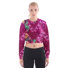 Pink Batik Cloth Fabric Cropped Sweatshirt