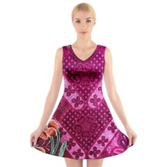 Pink Batik Cloth Fabric V Neck Sleeveless Skater Dress
