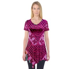Pink Batik Cloth Fabric Short Sleeve Tunic