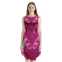 Pink Batik Cloth Fabric Sleeveless Chiffon Dress