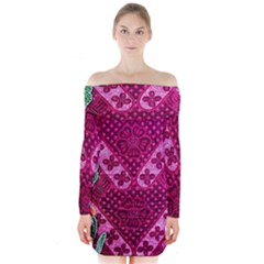 Pink Batik Cloth Fabric Long Sleeve Off Shoulder Dress
