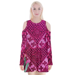 Pink Batik Cloth Fabric Velvet Long Sleeve Shoulder Cutout Dress