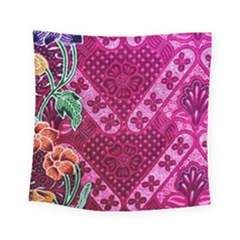 Pink Batik Cloth Fabric Square Tapestry (small)