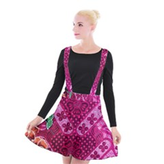 Pink Batik Cloth Fabric Suspender Skater Skirt